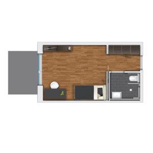 Möbliertes Apartment mit Terrasse.